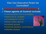 how can executive power be controlled