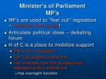 minister s of parliament mp s