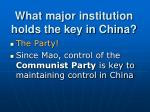 what major institution holds the key in china1