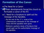 formation of the canon