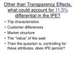 other than transparency effects what could account for 11 5 differential in the ipe