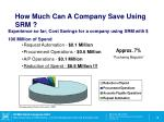 how much can a company save using srm