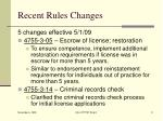 recent rules changes
