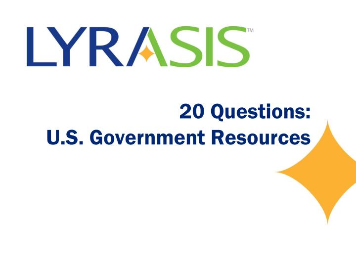20 questions u s government resources n.