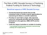 the role of nrc decadal surveys in prioritizing federal funding for science technology