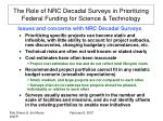 the role of nrc decadal surveys in prioritizing federal funding for science technology1