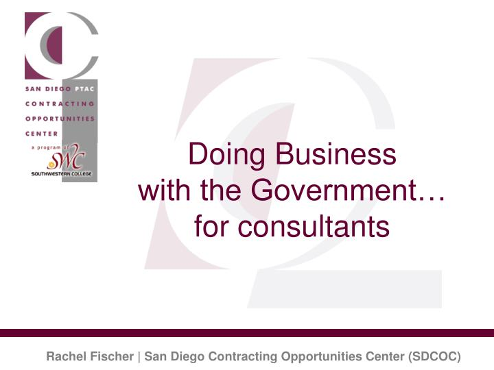doing business with the government for consultants n.