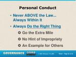 personal conduct