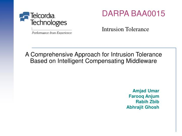 a comprehensive approach for intrusion tolerance based on intelligent compensating middleware n.