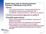 reality check how to introduce intrusion tolerance in middleware any cots