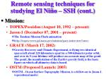 remote sensing techniques for studying el ni o ssh cont