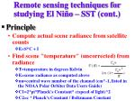 remote sensing techniques for studying el ni o sst cont