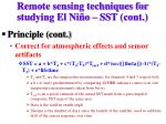remote sensing techniques for studying el ni o sst cont1
