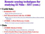 remote sensing techniques for studying el ni o sst cont3