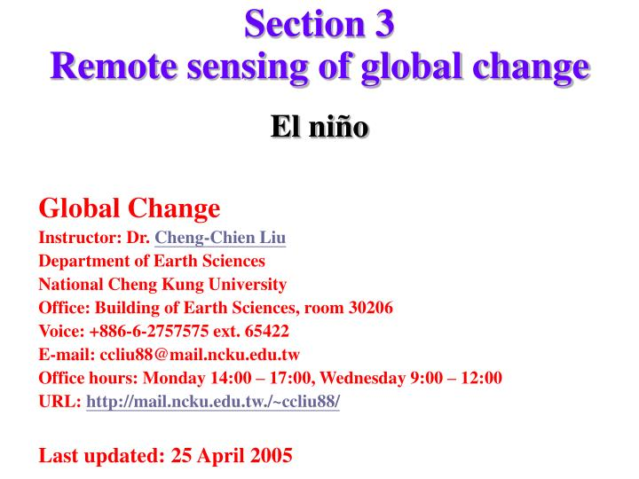 section 3 remote sensing of global change n.