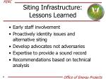 siting infrastructure lessons learned