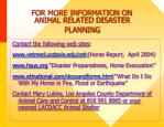 for more information on animal related disaster planning