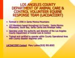 los angeles county department of animal care control volunteer equine response team lacdaccert1
