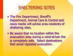 sheltering sites