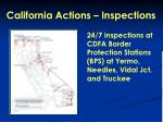 california actions inspections