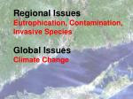 regional issues eutrophication contamination invasive species global issues climate change