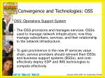 convergence and technologies oss