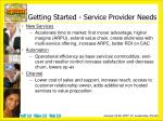 getting started service provider needs
