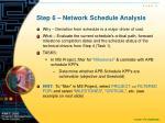 step 6 network schedule analysis
