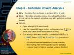 step 8 schedule drivers analysis