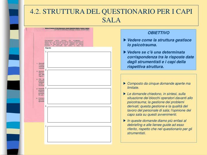4.2. STRUTTURA DEL QUESTIONARIO PER I CAPI SALA