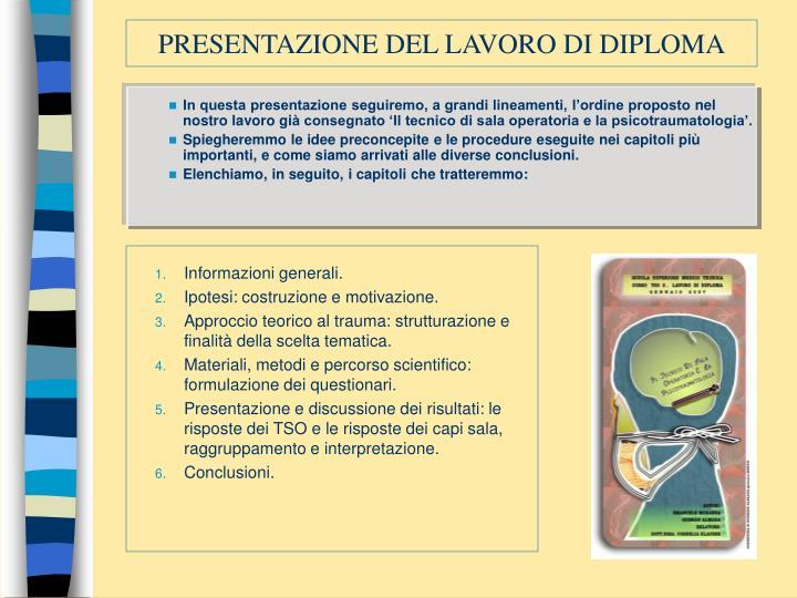 Presentazione del lavoro di diploma