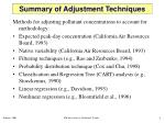 summary of adjustment techniques