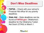 don t miss deadlines