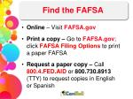find the fafsa