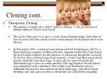 cloning cont