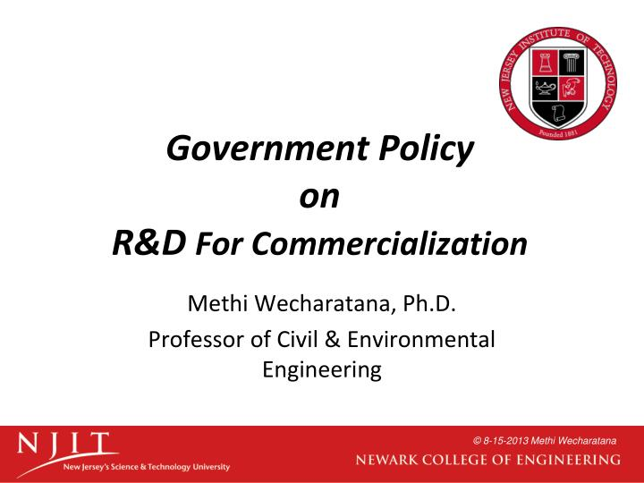 government policy on r d for commercialization n.