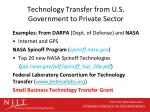 technology transfer from u s government to private sector
