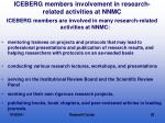 iceberg members involvement in research related activities at nnmc