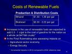 costs of renewable fuels