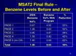 msat2 final rule benzene levels before and after
