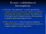 to start a definition of biocomplexity