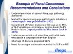 example of panel consensus recommendations and conclusions