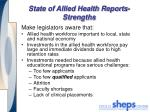 state of allied health reports strengths