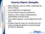 vacancy report strengths