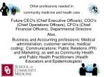 other professions needed in community medicine and health care