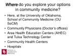 where do you explore your options in community medicine