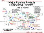 major pipeline projects certificated mmcf d 2000 to present