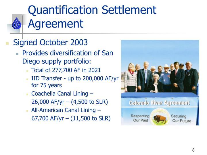 Quantification Settlement Agreement