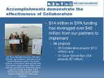 accomplishments demonstrate the effectiveness of collaboration