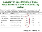 accuracy of case detection coco na ve bayes vs udoh manual ed log review